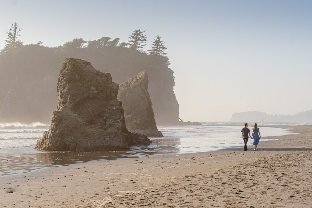 Outshined Photography captures engaged couple enjoying time together on Ruby Beach in Olympic National Park