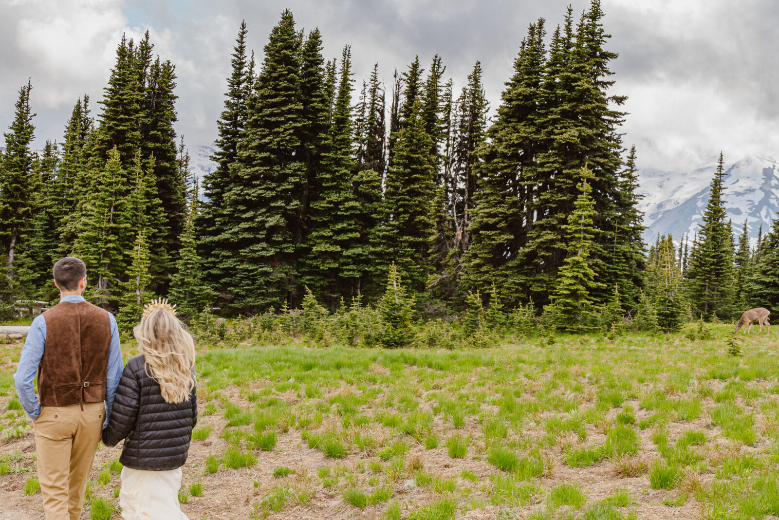 Couple eloping in Mount Rainier National Park watches deer feed in the field