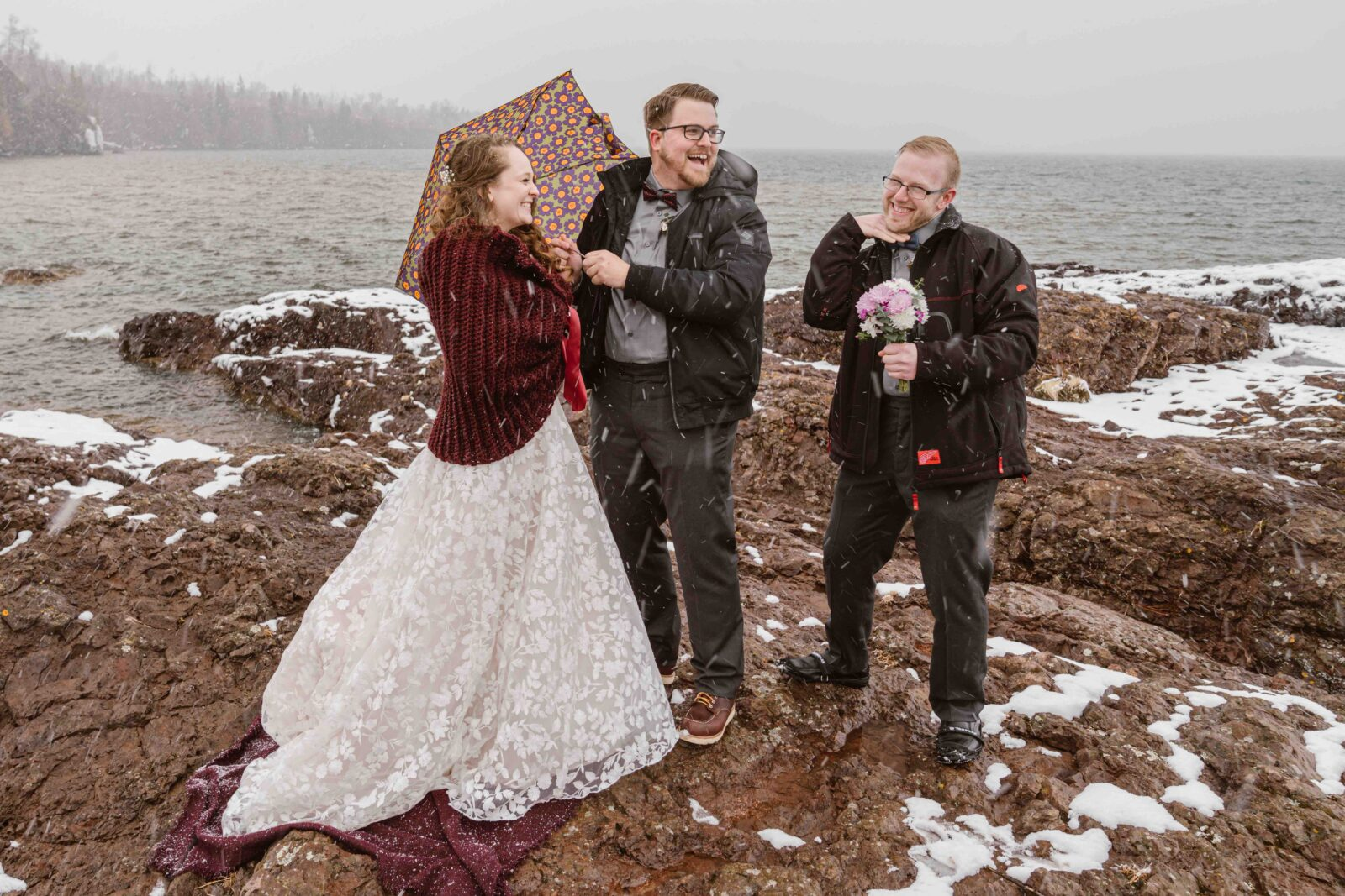 Planning an elopement in the spring should include backup plans if it decides to snow.