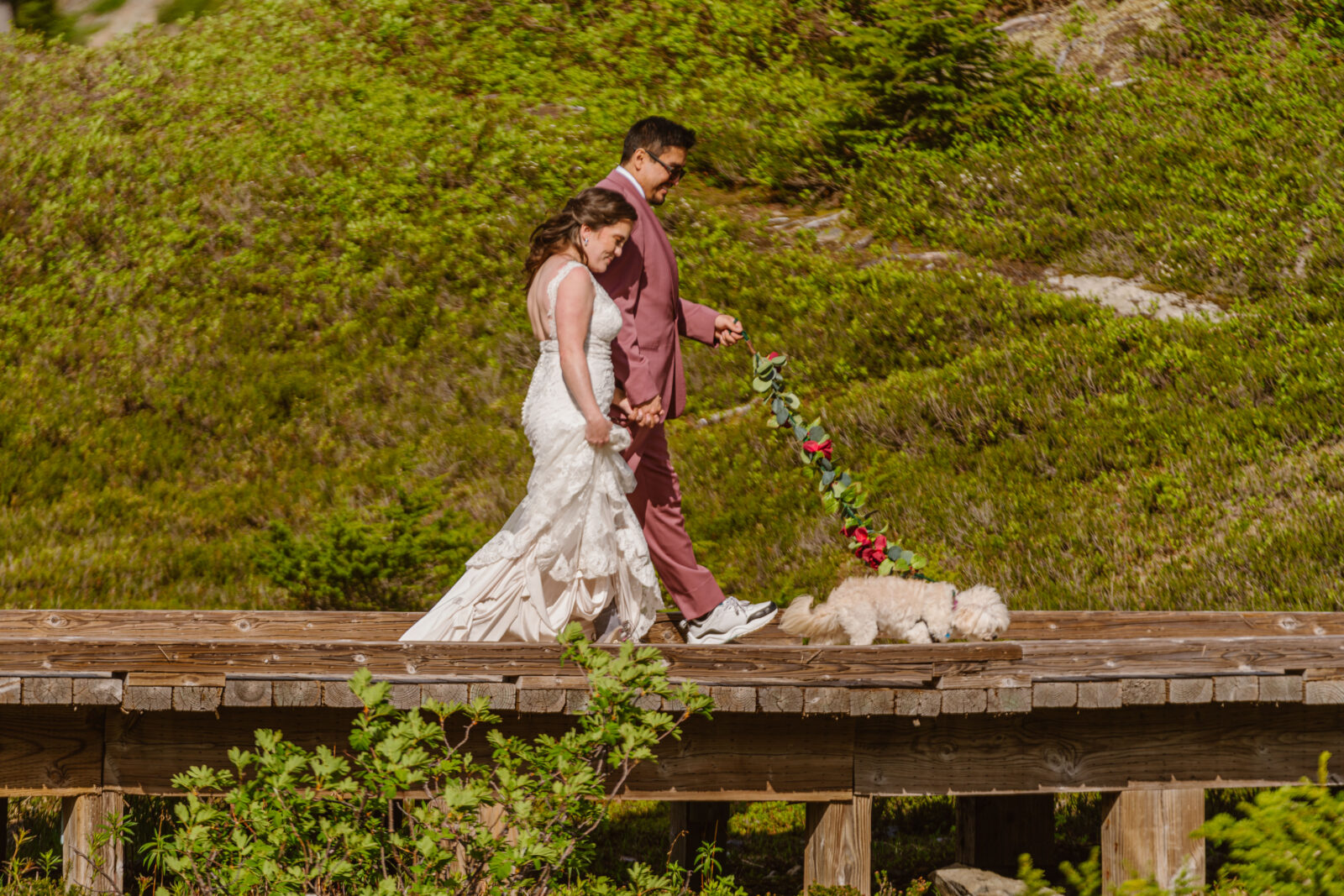 When planning an elopement in the pacific northwest, plan the small details, including how to dress up your dog's leash.