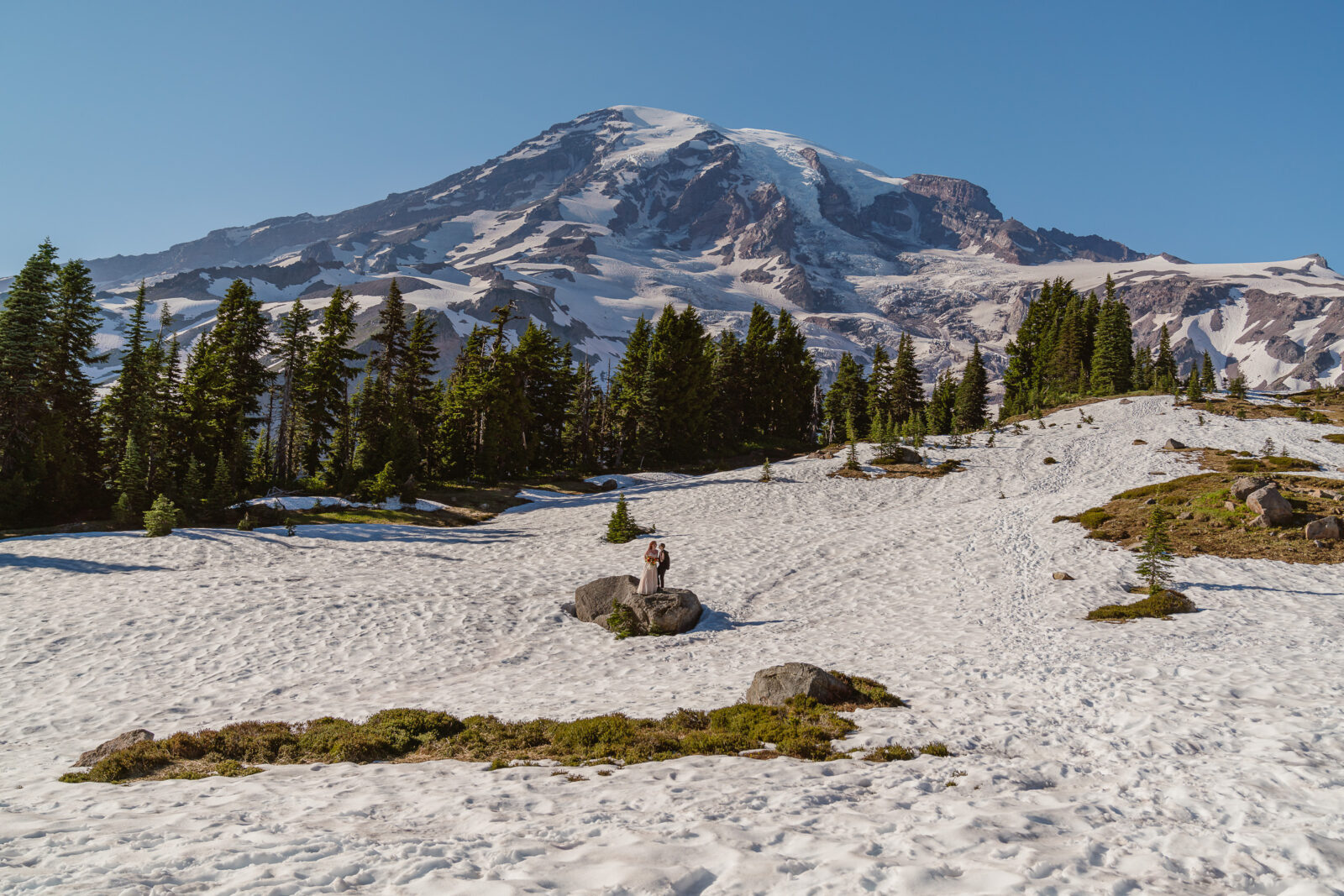 When planning an elopement at Mount Rainier National Park, plan for snow all year long.