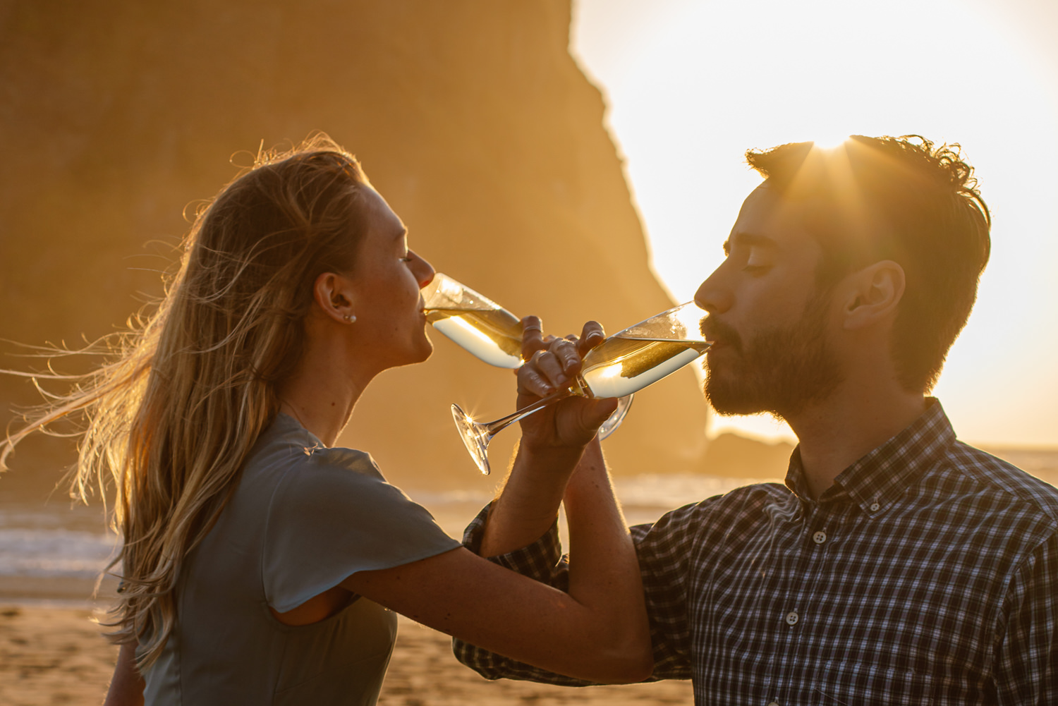 Cheers to eloping on Ruby Beach in Olympic National Park