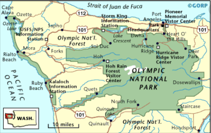 Map of Olympic National Park property, including places you can elope